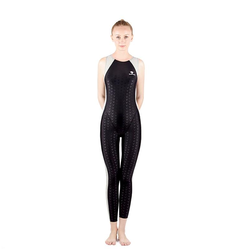 Femmes maillot de bain tuba Surf Suit peau de requin une pièce Jammers maillot de bain grande taille maillots de bain Arena piscine body combinaison noir