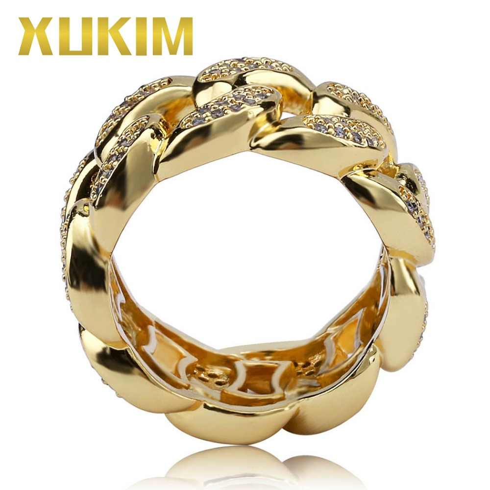 Xukim, ювелирные изделия, модные, блестящие, золотые, серебряные, кубинские звенья, цепь, кольцо, AAA кубический цирконий, ICed Out, хип-хоп ювелирные изделия, кольца, подарки, вечерние