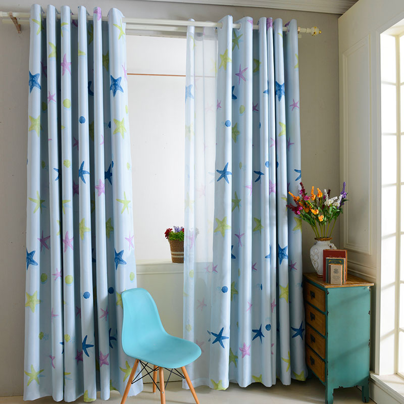 New Hot Sale 100x250cm Decorative Starfish Pattern Window Room Shade Panel Blackout Curtain DIY Home Living Room Decorations