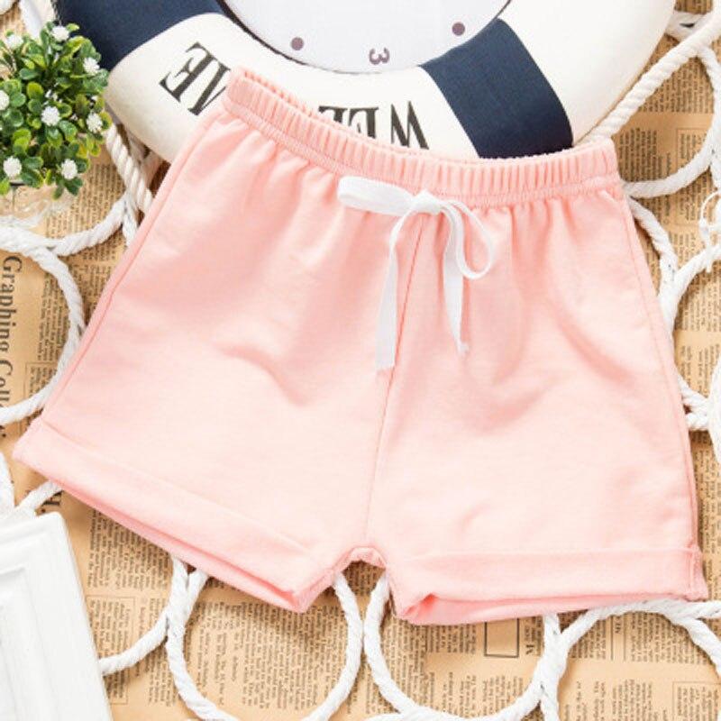 Летние тонкие детская одежда Шорты для маленьких мальчиков и девочек 5 Штаны сплошной цвет хлопок От 1 до 4 лет детские брюки для отдыха