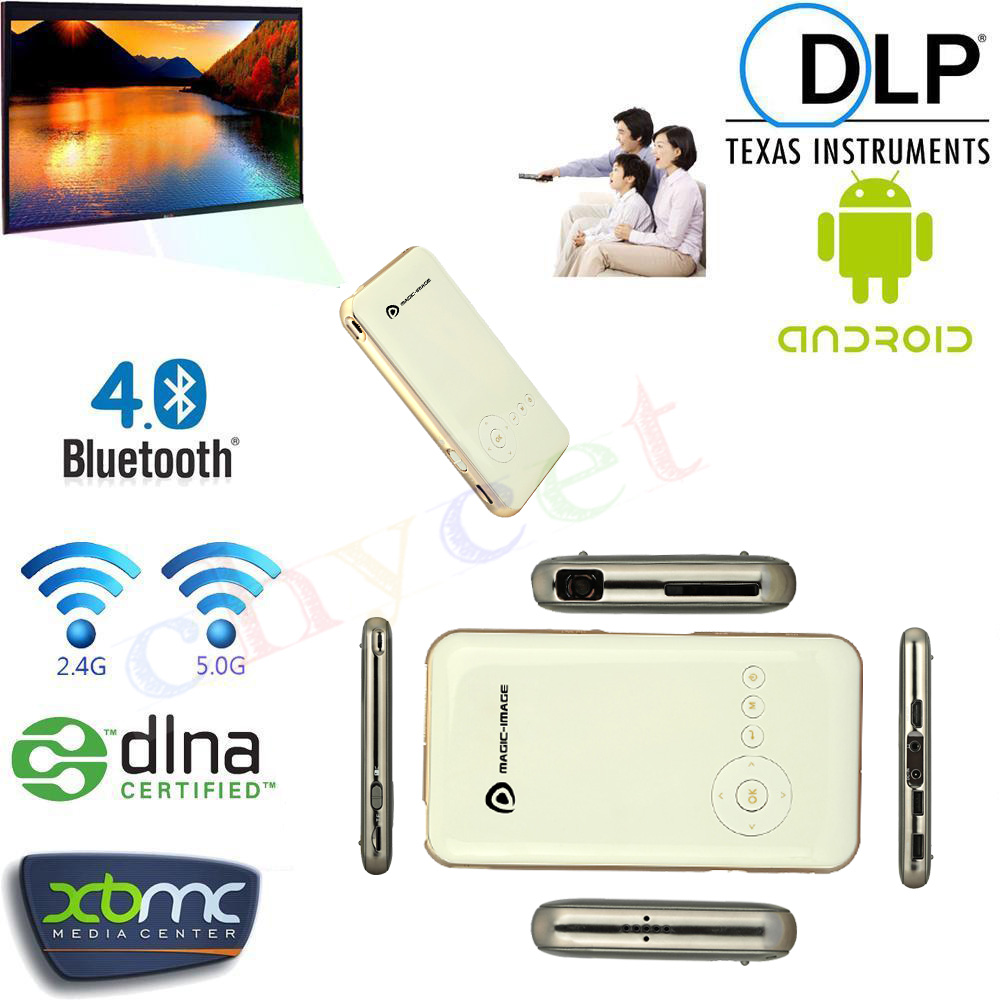 M6 Handheld Mini LED Projector WiFi Wireless Bluetooth 4.0 Smart DLP 1080P Home Proyector Kodi Android 4.4 TV Box Set-top box