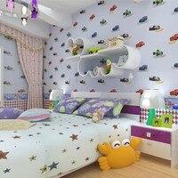 Kids Room Real Wall Paper Boy Cartoon Car Eco Friendly Child Non Woven Wallpaper Waistline Wallcoverings
