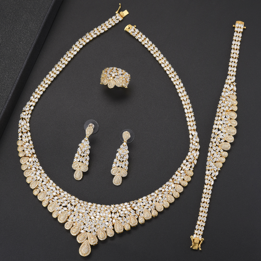 Delicate African Wedding Jewelry Sets For Women Teardrop Big Choker CZ Necklace Earrings Bracelet Ring Jewelry Sets For Bride a suit of delicate rhinestone necklace bracelet earrings and ring for women