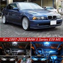 20 pièces Canbus lampe à LED ampoules de voiture intérieur paquet Kit pour 1997-2003 BMW 5 série E39 M5 carte dôme coffre porte plaque lumière Iceblue w