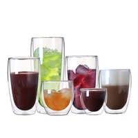 Taza de café de vidrio resistente al calor, Taza de cristal de doble pared de bebidas de 80/250/350/450ml, taza de té, taza de cerveza hecha a mano transparente