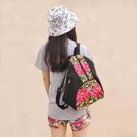 Nice Embroidery Backpack Ethnic Large Canvas Handmade Flowers Zipper Embroidered Shoulder Bag Vintage Fabric Travel School