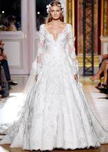 Don's Bridal 2016 Lace V-neck V Neck A Line Long Sleeves Chapel Train Wedding Dresses Vestidos De Noiva