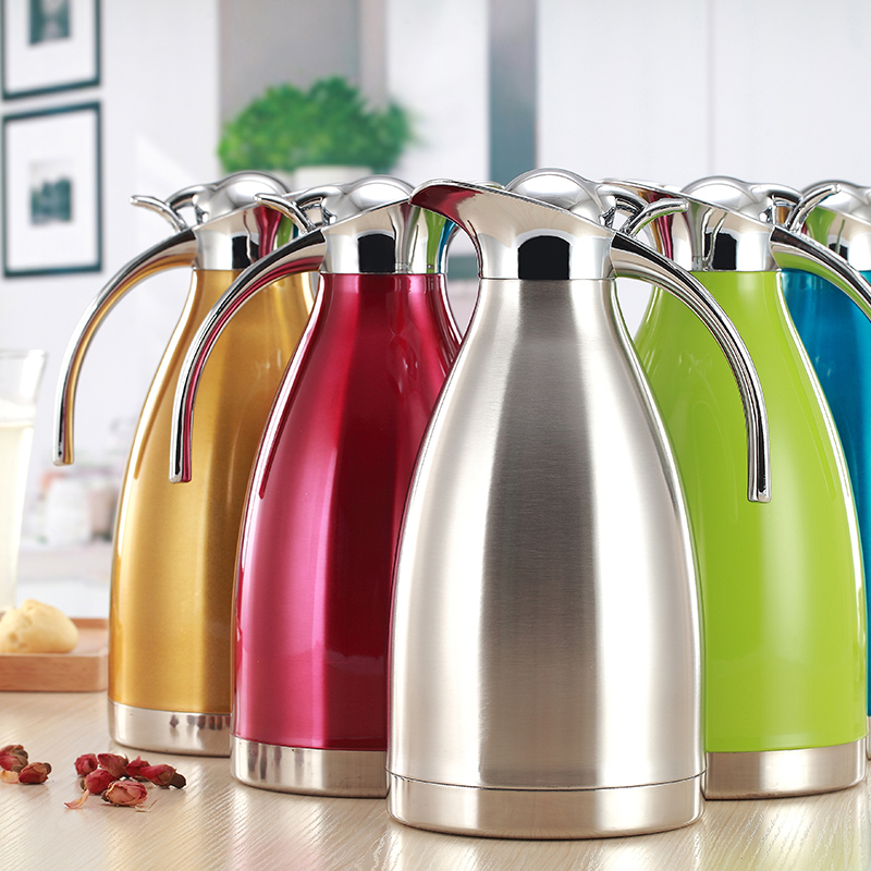 European 2L Vacuum Insulation Double Wall Stainless Steel Coffee Pot Milk Tea Jug Water Carafe Flask Thermal Thermos Bottles Coffee Pots     - title=