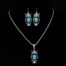 Fashion Jewelry Sets Tibetan Blue Stone Chain Necklace & Pendants Silver Plated Water Drop Shaped Stud Earrings Women Collar