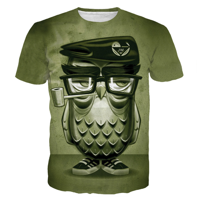 Newest Men Women Vintage Smoking Owl 3D t shirt Harajuku Tops Cool Boss Eagle Prints tshirts tees Male Female Tee Shirts CTE-230