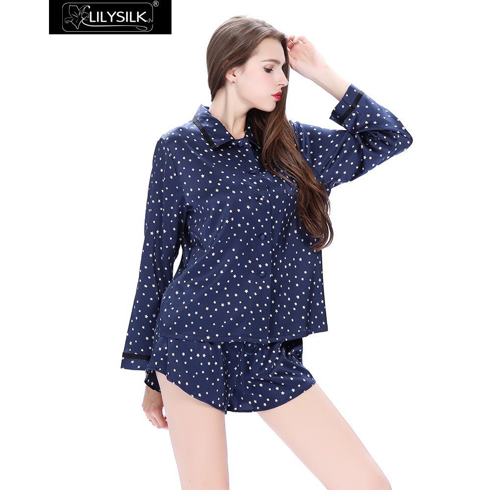 Lilysilk Natural Silk Pajama Suit Women Long Sleeve Button Blouse Shirt  With Shorts SleepWear Nightie Star Print 22 Momme Winter 9108c7beb