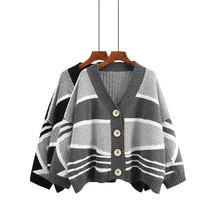 Autumn and winter thick geometric pattern knit sweater cardigan loose spell color short sweater coat female(China)