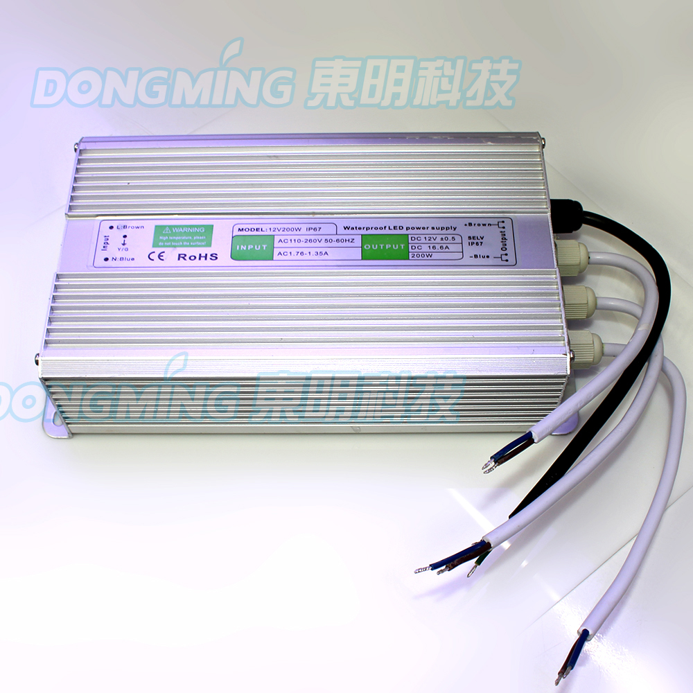 IP67 Waterproof LED Power Adapter 12V 200W AC110-260V To DC 12V Switching Power Supply 16.5A led Driver For led strip ac dc switching power supply 12v 15w 220v 110v to 12v dc adapter for led display led string led sign high efficiency mini size