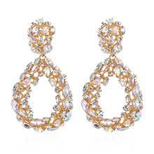 KMVEXO 2019 New Statement Water Drop Hollow Rhinestone Earring Trendy Jewelry Elegant Long