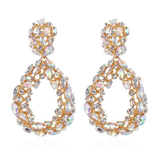 KMVEXO 2019 New Statement Water Drop Hollow Rhinestone Earring Trendy  Jewelry Elegant Long Shiny Crystal Earrings 76ff0af55492