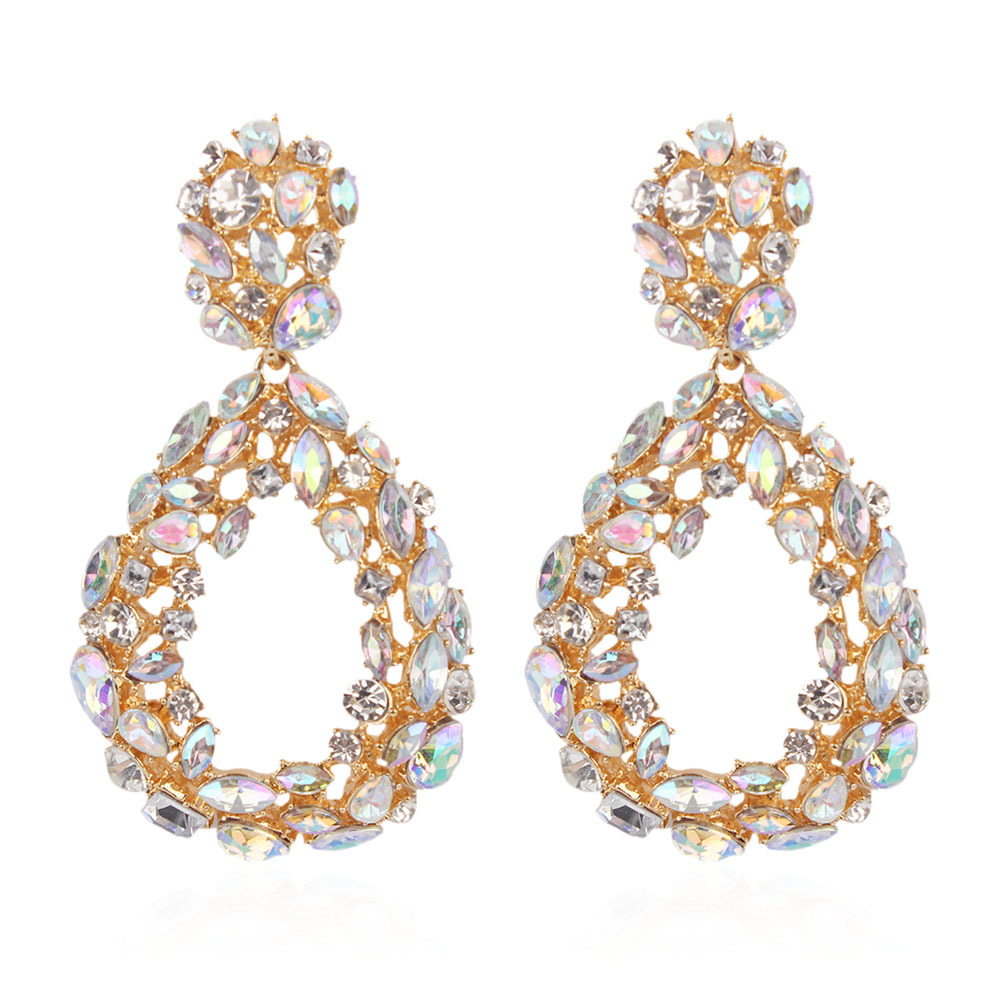 Fashion Geometric Circle Crystal Water Drop Hollow Earrings Women Jewelry Gift