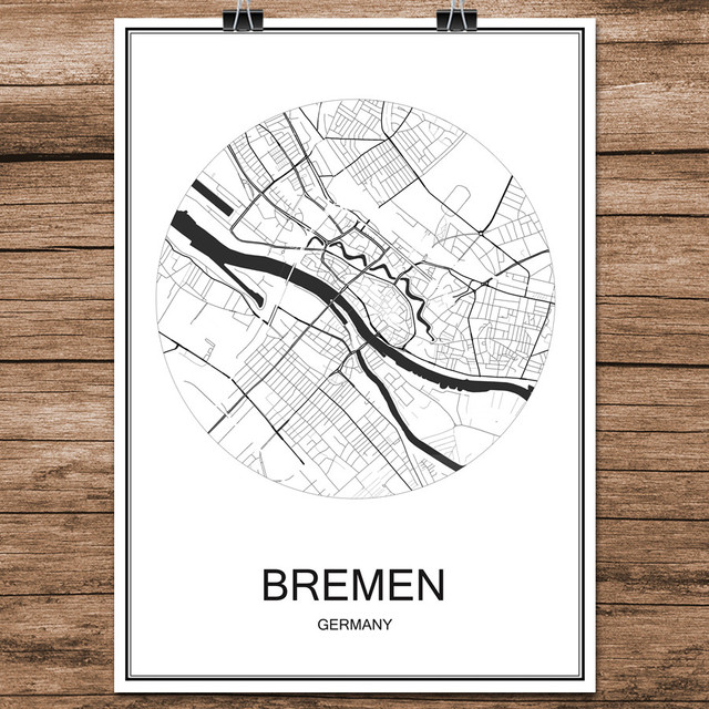 beruhmte world city street karte bremen deutschland druck. Black Bedroom Furniture Sets. Home Design Ideas