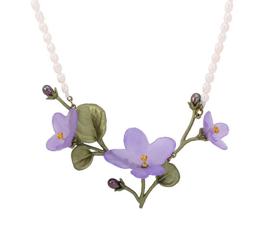 CSxjd Genuine version Metal bronze African Violet necklace Natural pearl Vintage Women s wedding necklace accessories