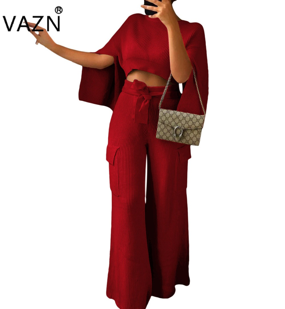 Objective Vazn Autumn Hot 2018 Sexy Solid 2-pieces Wide Leg Jumpsuits Ladies O-neck Full Sleeve Jumpsuit Women Knitted Long Jumpsuit Fsx71 Women's Clothing Suits & Sets
