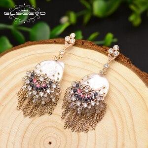 Image 3 - GLSEEVO Original Design fait à la main perle boucles doreilles pour les femmes gland boucles doreilles de luxe bijoux de mariage Brincos GE0695