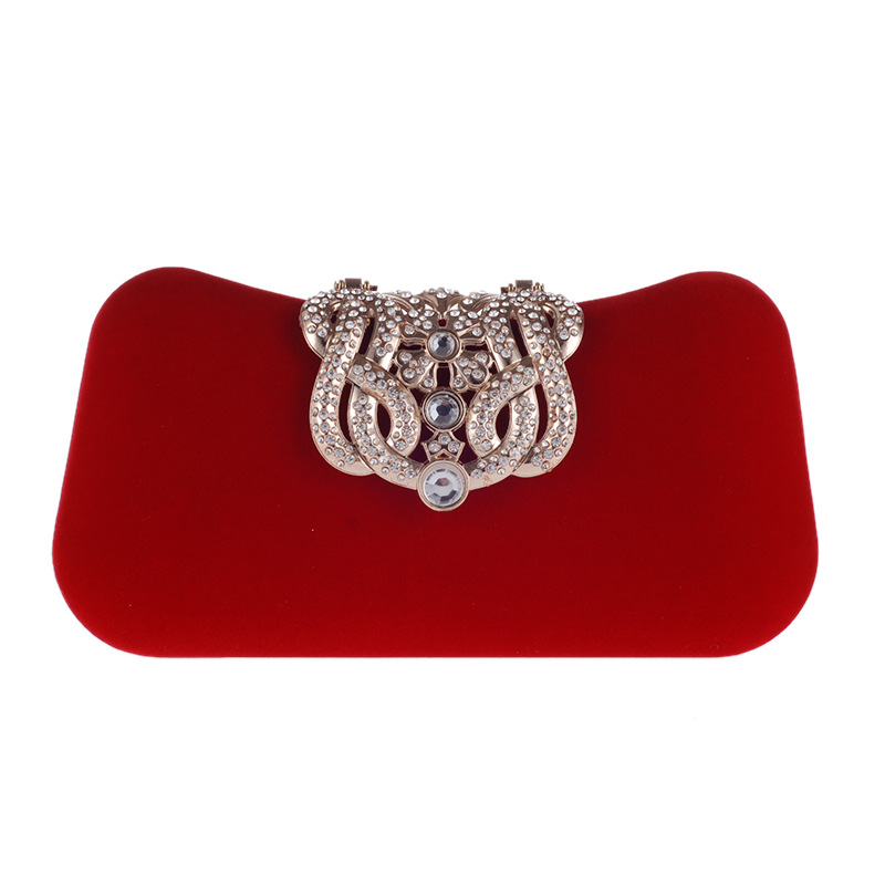 Bamboo Charm Fashion Velour Evening Party Clutch Pouch Bag For Women Crown Rhinestone Handbag Crossbody Shoulder Bag Metal Chain in Clutches from Luggage Bags
