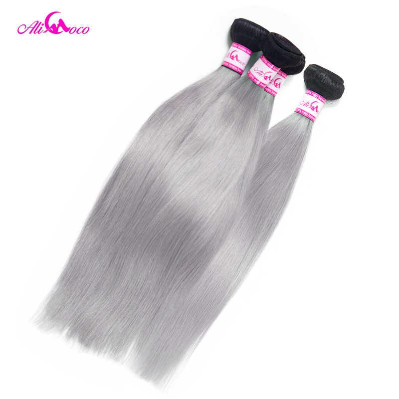 Ali Coco Brasilianische Gerade 1B Grau Bundles Mit Verschluss 100% Menschliches Haar Mit Verschluss Omber Remy Haar Weave Extensions