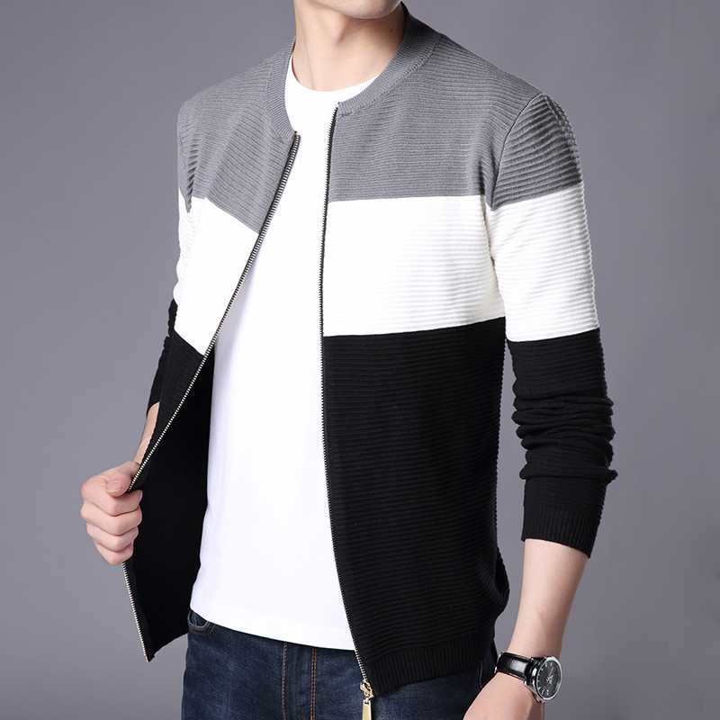 Hot Selling 2018 New Brand Casual Men's Sweaters Patchwork Zipper Men Cardigan Thick Men Clothing Slim Knitted Mens Sweaters
