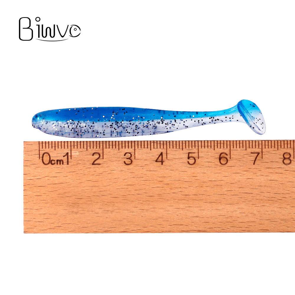 Biwvo 5 unids/lote 7cm señuelos suaves brillantes suaves Wobblers Señuelos de Pesca de silicona doble nadadores isca pesca de carpa Artificial