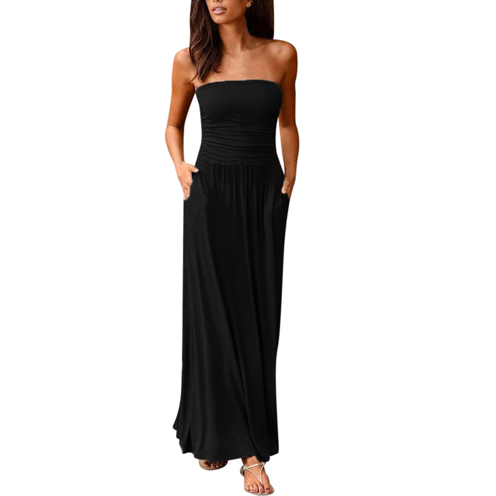 Womens Boho Dress Bandeau Holiday Off Shoulder Strapless Long Dress Feminine Ladies Casual Summer Solid Maxi Dress Vestidos 2021