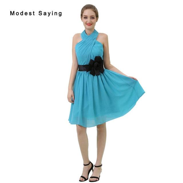 Großhandel Elegante Blaue A-Line Halfter Mini Chiffon Brautjungfer Kleid  2017 Formal Mädchen Kurzes Trauzeugin b8e4526a99