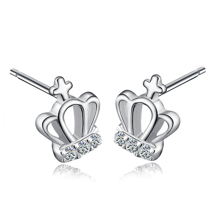 178f685de6ed 925 Plata cristal corona Pendientes para las mujeres declaración Pendientes  pendientes brincos bijoux Mujer