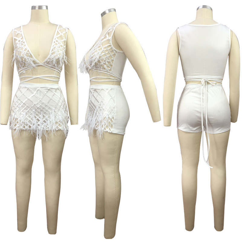 85533a1a00 Sexy 2 Piece Set Women 2018 Fashion Feather Patchwork Sequin Crop Top and Shorts  Set Sheer Two Piece Party Club Outfits Clothes-in Women's Sets from Women's  ...