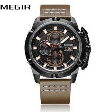 5bdd61f7399 MEGIR Relógios Pulseira de Couro Dos Homens Do Esporte de Pulso de Quartzo  Cronógrafo Calendário Dial Homens Relógios Militar Do.