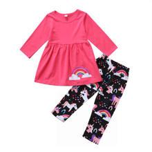 d5d78e84ea54a 2 pièces enfant filles vêtements ensemble enfant en bas âge bébé fille  licorne vêtements hauts t-shirt + pantalon Leggings tenue.