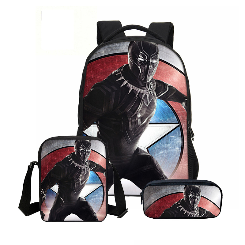 3Pcs Set Portfolio School Bags For Boys Girls Cool Marvel Hero Black Panther Letter 3D Printing