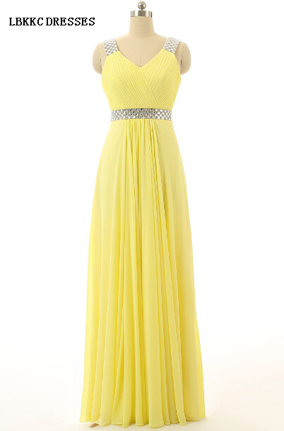Sexy V Neck Spaghetti Straps Chiffon Sash Beaded Long Yellow   Prom     Dresses   Vestidos De Graduacion Largos 2015,PD053