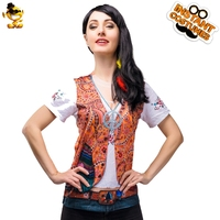 DSPLAY Carnival Party Original New Design Exotic Costume Cosplay Women Roleplay Sexy Indian Woman Figure 3D Printing T shirt