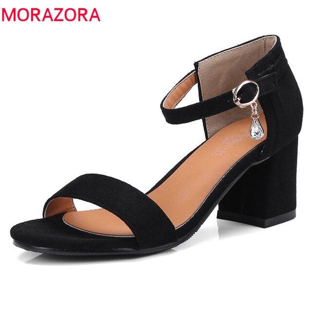 Morazora/Размеры 32-46 Лидер продаж 2018 Новое поступление обувь модные простые женские сандалии на квадратном каблуке с ремешком и пряжкой обувь из флока женские