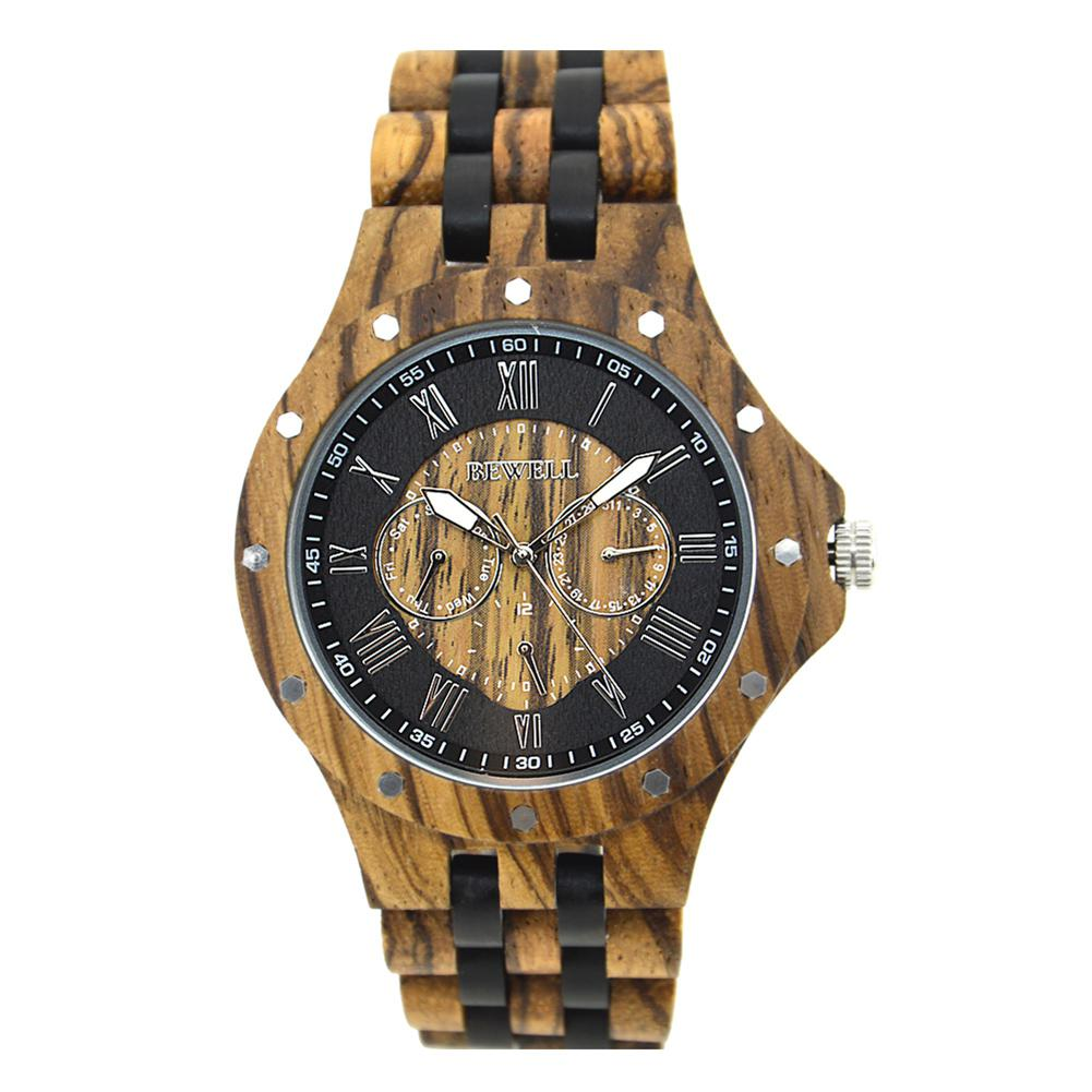 BEWELL Men Wooden Watch Fashionable Waterproof Quartz Wrist Watch Ornament Valentine's Day Gift (with Gift Box) цена и фото