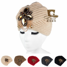 NEW  Luxury Divas Winter Knit Turban Beanie With jeweled flower KH-2016