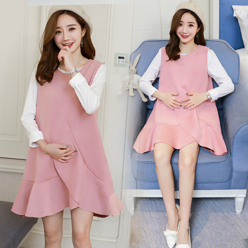 купить Will fall pregnant women dress, backing new long-sleeved T-shirt unlined upper garment deer velvet vest skirt two-piece outfit в интернет-магазине