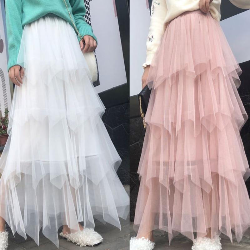 Women irregular Tulle Skirts Fashion Elastic High Waist Mesh Tutu Skirt Pleated Long Skirts Midi Skirt Saias Faldas Jupe Femmle in Skirts from Women 39 s Clothing