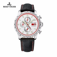 Reef Tiger/RT Men's Sport Watch Genuine Leather Band Luminous Black Dial Stainless Steel Watch with Chronograph Date RGA3029