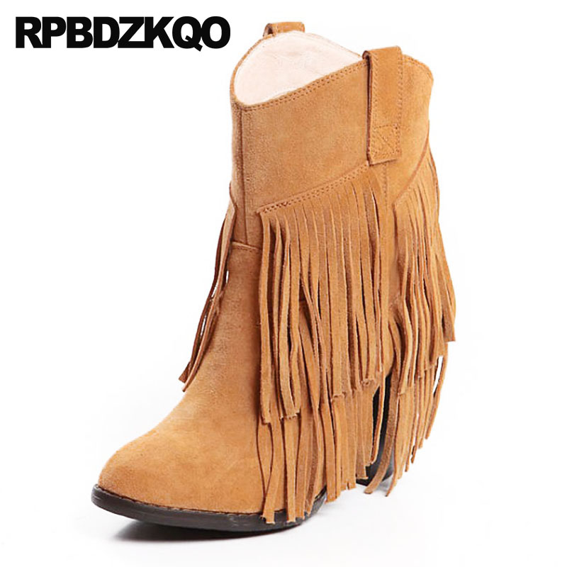 Designer Shoes Women Luxury 2018 Ankle Tassel Brown Fall Slip On Fringe Boots Short Suede Autumn Chunky Vintage High Heel Brand