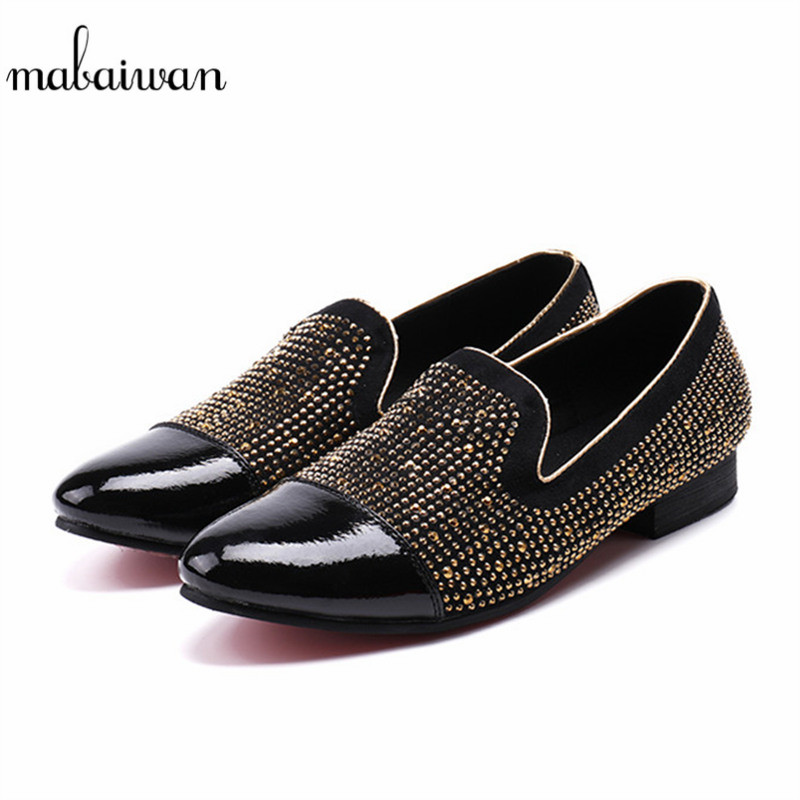 Mabaiwan Fashion Casual Shoes Black Suede Loafers Smoking Gold Crystal Prom Slipper Dress Shoes Men Genuine Leather Party Flats mabaiwan fashion men shoes handcrafted embroidery flowers designs loafers smoking slipper wedding dress shoes men party flats