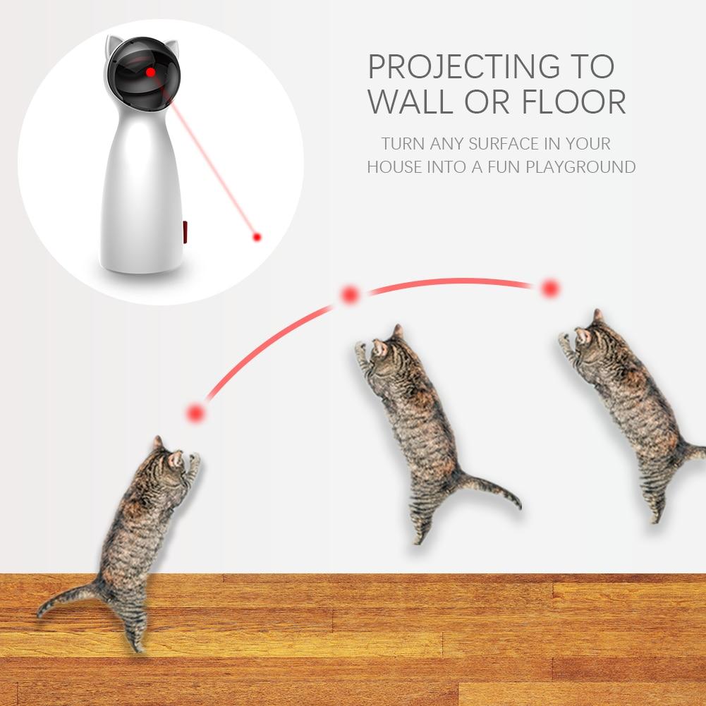 고양이를위한 자동 고양이 장난감 레이저 포인터 조정 가능한 5 모델 puntero 레이저 채팅 jouet funny electric laserlampje kat dog mysudui