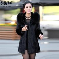 Plus Size 3XL 4XL 5XL 6XL Winter Parka Women Faux Fur Coat Long Thicken Mink Fur Coats Hooded Large Fox Fur Collar