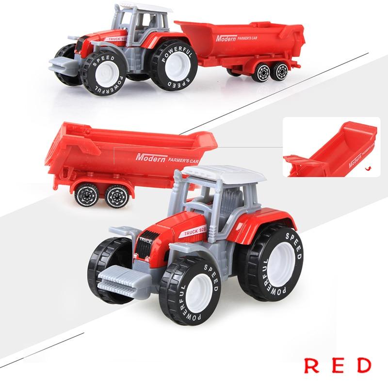 Литая под давлением сельскохозяйственная техника мини-модель автомобиля Инженерная модель автомобиля трактор инженерный автомобиль трактор игрушки модель для детей Рождественский подарок - Цвет: Tractor Red