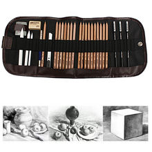 29X Pencil Sketch Drawing Pencil Set Charcoal Eraser Utility Knife Canvas Bag