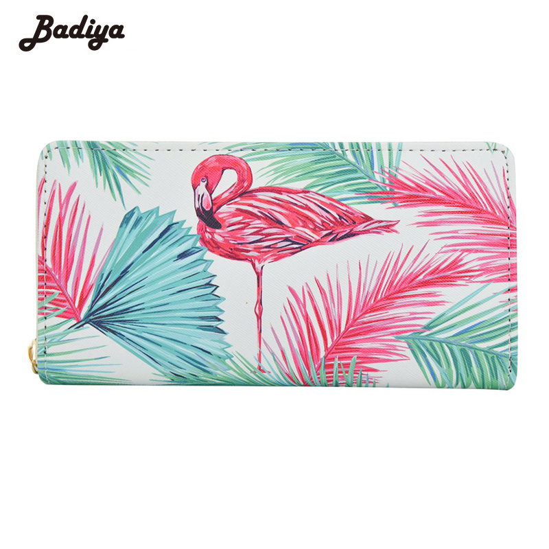 Long Style Wallet Women Pu Leather Luxury Brand Zipper Purse Cartoon Flamingo Fashion Large Capacity Card Holders Women Wallets